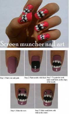 Screen Muncher Pink Nail Art Tutorial