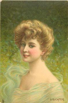 head & shoulders study of beauty, off shoulder filmy light green dress, faces left, looks front