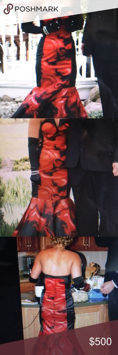 Tony Bowls Prom Dress Red and Black, mermaid style prom dress. Size 2, worn once! Extra tool added to skirt as shown in picture. Zipper in back. Paid $650, make an offer! ☺️ Tony Bowls Dresses Prom