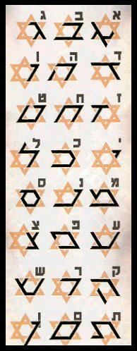 24 Aleph Beit Hebrew letter design segments from Hexagon Star of David
