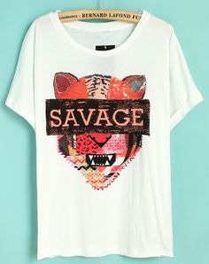 White Short Sleeve SAVAGE Tiger Print T-Shirt - Sheinside.com