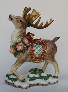 Fitz And Floyd Reindeer Ceramic Christmas Candle Holders `Kris ...