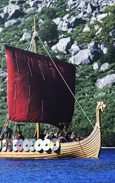 Viking longship must have had some variety of sails. However, they must have favored the red and white stripes as so much history and art is the red and white sail, usually with a large black bird in the middle towards the top.