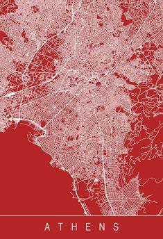 Athens Map, Athens City, Architecture Wallpaper, Architecture Drawings, Greece Map, Athens Greece, Map Design, Design City, City Grid