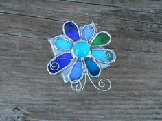 Stained Glass Box with Flower-Blue-Green. $30.00, via Etsy.