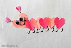 Valentine's Day Heart Caterpillar Craft For Kids – Crafty Morning - Süsskartoffel Suppe Cute Valentines Day Gifts, Valentine Day Boxes, Valentines Day Hearts, Diy Valentine, Valentine's Day Crafts For Kids, Diy Projects For Kids, Diy For Kids, Craft Kids, Preschool Valentine Crafts