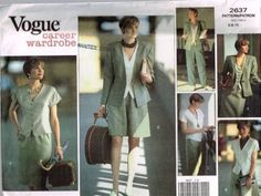 V2637 Sewing Pattern Vogue Career Ladies Blouse Shorts Pants Jacket 6 8 10