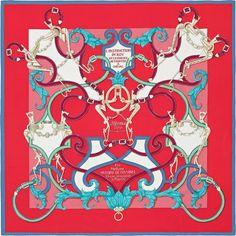 L'Instruction du Roy   2016年春夏コレクション  《帝王学》  カレ・ジェアン ツイル・プリュム   シルクツイル シルク 100%   サイズ: 140×140 cm ~ アンリ・ドリニー によるデザイン   商品番号 : H431761S 10 rouge   ¥112,320
