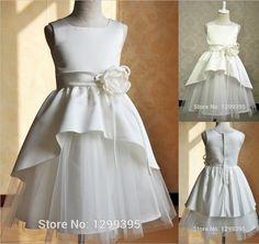 Vestido de Daminha 2015 blanco lindo marfil niña de las flores vestidos para bodas los niños vestidos de noche de la muchacha de baile vestidos del desfile en Vestidos de flores Niña de Bodas y Eventos en AliExpress.com | Alibaba Group