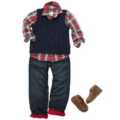 HOLIDAY OUTFIT- A plaid shirt layered under a classic navy sweater vest with easy jeans (lined with red fleece) makes for a great dressed up denim look.