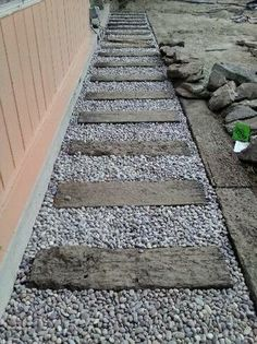Railroad Ties For Driveway Edging All We Have Left To Do Is Put The Rock Back And New Bark