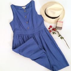 J.Crew Blue Linen Blend Dress Lovely and new with tags dress by J.Crew. Retails for $138. Light blue with button down front, sleeveless and fitted waist. Size 12. J. Crew Dresses