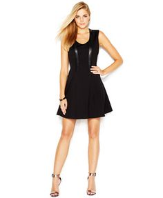 Jessica Simpson Fit & Flare Faux-Leather Accent Dress