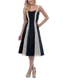 Another great find on #zulily! Unique Vintage Black & Tan Lace Hayworth Dress - Women & Plus by Unique Vintage #zulilyfinds