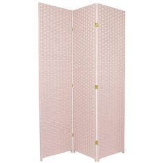 6ft tall woven fiber room divider screen in light pink