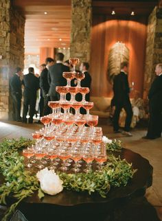 Champagne Tower Centerpiece | Wyoming | Photo: Carrie Patterson Photography | http://knot.ly/6499BIAZV | http://knot.ly/6493BIAZZ