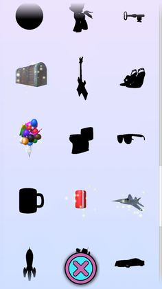 A collection of toys in the game Surprise Eggs. Some are found and have color, some are new and have gold dust on them. Some are not yet found and only show as a mysterious black silhouette! In this picture we see what appears to be a ball, a pony, a key, a old wooden chest, an electric guitar, some high heel shoes, some colorful balloons in various sizes and shapes, a toilet, some black shades, a coffee mug, a red and white can of soda or coke, a silver fighter jet plane or airplane.
