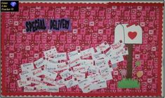 Cute letter writing bulletin board display idea for February and Valentine's Day.