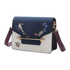 Birds Embroidery Flower Crossbody Bag Blue (€25) ❤ liked on Polyvore featuring bags, handbags, shoulder bags, embroidered handbags, crossbody shoulder bag, embroidery handbags, blue handbags and flower cross body purse