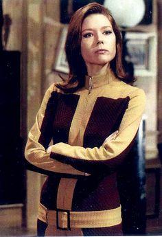 "Diana Rigg as Emma Peel, wearing an ""emmapeeler"" (Dramatic Classic),"