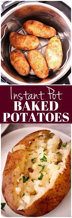 Pot Baked Potatoes Instant Pot Baked Potatoes Recipe - perfectly fluffy potatoes cooked in a digital pressure cooker. No foil needed!Instant Pot Baked Potatoes Recipe - perfectly fluffy potatoes cooked in a digital pressure cooker. No foil needed! Best Instant Pot Recipe, Instant Recipes, Instant Pot Dinner Recipes, Instant Cooker, Instant Pot Pressure Cooker, Pressure Cooker Recipes, Pressure Cooking, Baked Potato Recipes, Baked Potatoes