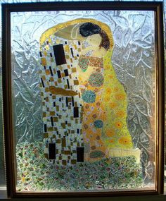 The Kiss reproduction In Glass -  Kiln, Fused, Stained glass GLASS CRAFTS DIY Craft, ideas, tutorials on Craftster.org