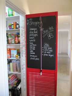 DIY Chalkboard on the back of my pantry door. Attach a chalkboard pen with a bit of ribbon.