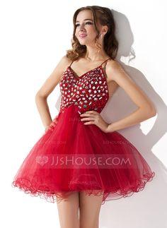 A-Line/Princess V-neck Short/Mini Satin Tulle Homecoming Dress With Ruffle Beading Sequins (022008973) - JJsHouse