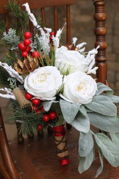 Frosted Christmas Winter Wedding Bouquet by TrishBaileyDesigns, $95.00