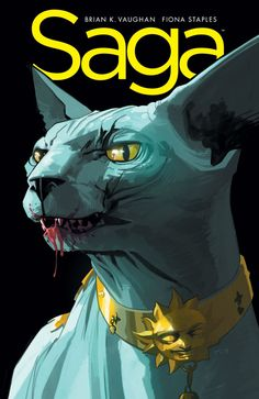 Lying Cat on the cover, Saga #18 Brian K. Vaughn writer, Fiona Staples artist comic book love