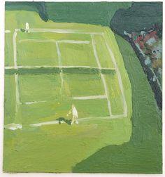 """jesuisperdu:  paulmetrinko:  """"Little Wimbledon"""" Acrylic on board, 6 x 7 in  new favorite painting <3"""