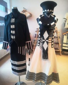 African Clothes, African Fashion Dresses, Vivienne Westwood Wedding Dress, Xhosa Attire, African Fashion Traditional, Shweshwe Dresses, African Accessories, Womens Dress Suits, Traditional Wedding Dresses