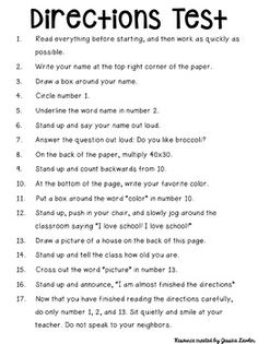 FREE Directions Test - Prank - Prank meme - - Directions Test- this one's a classic! The post FREE Directions Test appeared first on Gag Dad. First Day Of School Activities, 1st Day Of School, Beginning Of The School Year, Listening Activities For Kids, Critical Thinking Activities, Middle School Tips, Middle School English, Middle School Teachers, School School