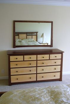 Black Walnut and Curly Maple Dresser and Nightstands #dresser #wood furniture #home decor