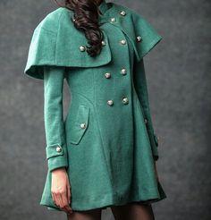 Winter green cape coat - so city chic ;-)
