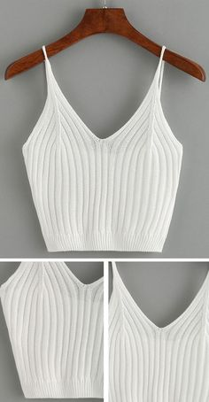 Ribbed Knit Crop Cami Top – White … Top Cami crop a coste in maglia – Bianco Altro Cami Tops, Cute Crop Tops, Cami Crop Top, Winter Mode Outfits, Winter Fashion Outfits, Stylish Outfits, Cool Outfits, Summer Outfits, Looks Pinterest
