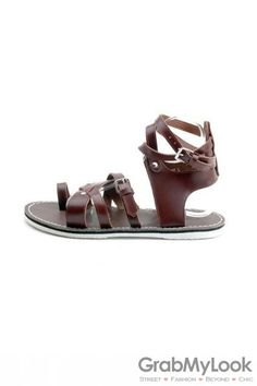 e620ac5bff69 GrabMyLook Suede Leather Strap Mens Roman Gladiator Sandals Shoes.  GrabMyLook Leather Ankle Straps Mens Gladiator Sandals Men s Sandals