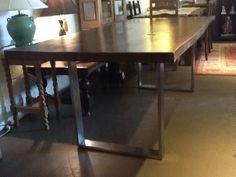Solid Suar Wood Slab Live Edge Stained top with Stainless Steel Bases