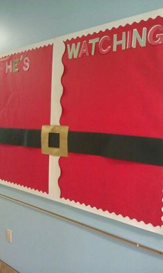 Christmas bulletin board-already have the red paper up! Just might do this :)