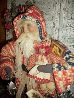 Primitive Handmade Santa Claus Collectible Antique Coverlet One of A Kind | eBay