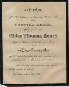A013.4.1: Death notice for Lurenda (Abbey) Henry, who died at Port Oshawa on March 25, 1888.
