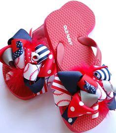 boutique MATCH your favorite SPORT team FUNKY fun flip flop bow sandals. $22.99, via Etsy.