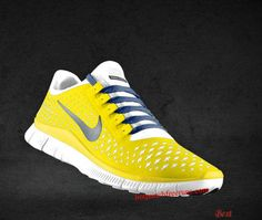 promo code 51295 fbaff Cheapest  Mens Nike Free 3.0 V4 Chrome Yellow Reflect Silver Platinum  Imperial Blue Lace Shoes