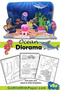 Ocean Diorama Project - Animal Habitat Activity Make an animal habitat diorama 'under the sea' with this beautiful papercraft ocean activity set. Fun & easy DIY diorama craft for kids to make. Printable project art in color or black and whi Ocean Projects, Animal Projects, Science Projects, School Projects, Ocean Diorama, Ecosystems Projects, Ocean Habitat, Ocean Activities, Ocean Crafts