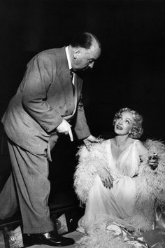 Alfred Hitchcock, Marlene Dietrich on the set ofStage Fright (1959)