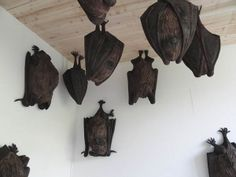 Fantastic giant wooden BATS by Swiss artist Rochus Lussi