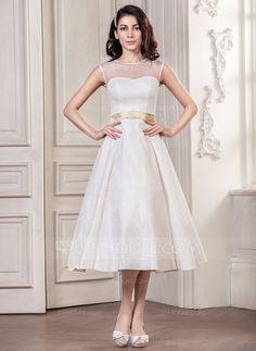 [AU$ 222.00] A-Line/Princess Scoop Neck Tea-Length Lace Wedding Dress With Sash Bow(s) (002059182)