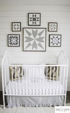 white gray and tan nursery reaveal with shiplap walls from the Mountain View Cottage.jpg