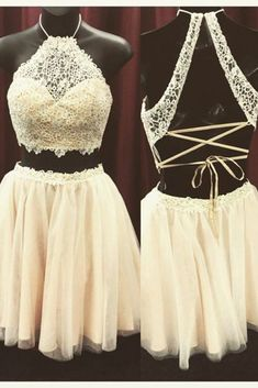 Ivory tulle lace two pieces halter short party dress , casual dress with straps for teens #dressforteenscasual #dressesforteens