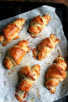 just-baked croissants with prosciutto and gruyere cheese by alexandracooks